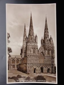 Staffordshire LICHFIELD Cathedral from the North West - Old RP Postcard 22930