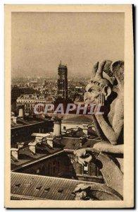 Old Postcard Paris church Notre Dame Chimere Devil
