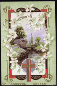 Peaceful Easter with Cross Country Scene and white flowers Embossed pm1912 - DB