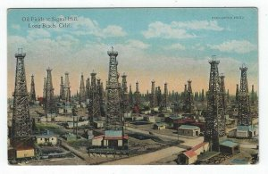Long Beach, California, Vintage Postcard View of The Oil Fields at Signal Hill