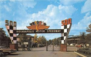 Indianapolis Indiana Motor Speedway-Main Gate~Man Sitting~Classic 50s Cars