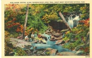Hikers resting along Rainbow Rocky Spur Trail, Great Smok...
