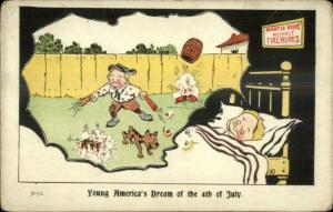 4th Fourth of July Boy Dreams of Firecrackers c1910 Postcard