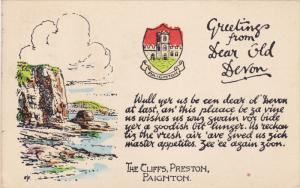 PAIGNTON, England, 1900-1910's; Paignton Coat Of Arms, The Cliffs