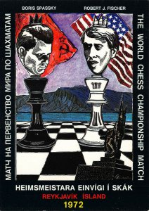 Reykjavik Island Boris Spassky vs Robert J. Fischer 1972 Chess Match Postcard