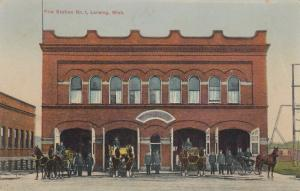 LANSING , Michigan , 1910 ; Horse Drawn Fire Department