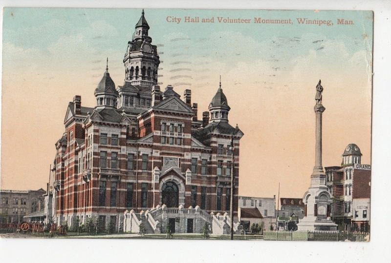 B77424 winnipeg man city hall and volunteer monumen canada scan front/back image
