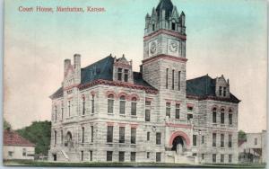 Manhattan, Kansas Postcard RILEY COUNTY COURT HOUSE Street View Dated 1909