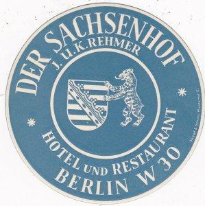 Germany Berlin Hotel & Restaurant Sachsenhof Vintage Luggage Label sk2884