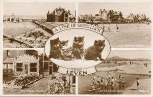 RPPC Good Luck Kittens from Leven - Fife, Scotland, United Kingdom - pm 1956