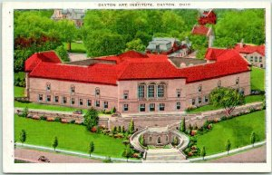 Dayton, Ohio Postcard DAYTON ART INSTITUTE Museum, Aerial View Kropp Linen 1943