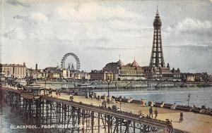 Blackpool Lancashire England c1910 Postcard Resort From North Pier Ferris Wheel