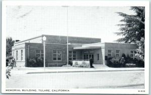 Tulare, California Postcard MEMORIAL BUILDING Street View Wayne Paper c1940s