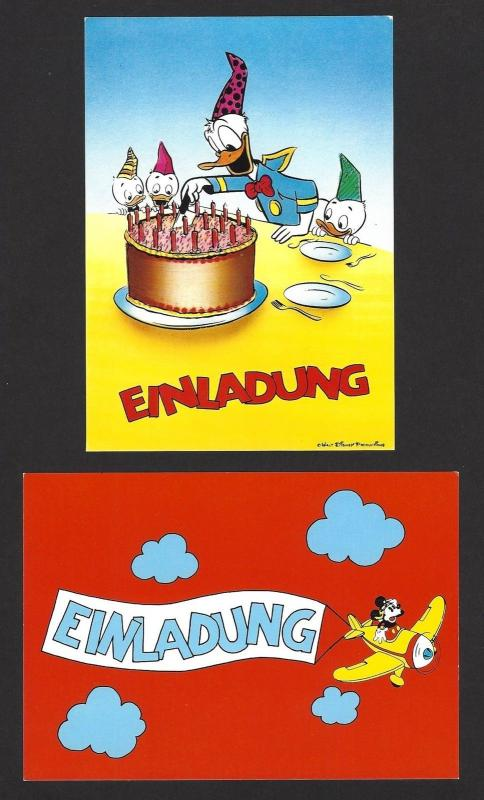 Walt Disney group of 6 postcards by Bielefeld Germany
