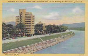Kanawha Boulevard And Kanawha River Showing United Carbon Building And Riverv...