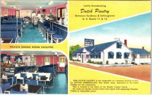 SUNBURY,  PA Pennsylvania  DUTCH PANTRY Restaurant 1950s Linen Roadside Postcard