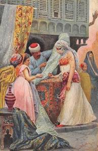 Egypt Native Cloth-Seller, Signed Postcard