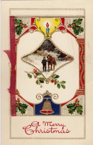 CHRISTMAS; 00-10s; Bi-Fold, Embossed, Man and horse, Gold detail, Greetings Poem