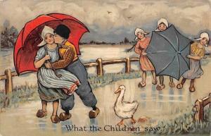 What the Children Saw Goose, Dutch Costumes, Couple, Umbrellas