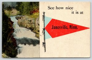 See How Nice it Is at Janesville Minnesota~Waterfall~1916 Pennant Postcard