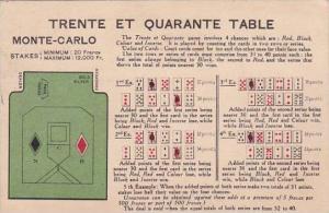 Monte Carlo Trente Et Quarante Table 1925