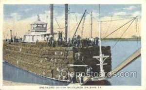Unloading Cotton Off A Mississippi Steamboat, New Orleans, LA, USA Ferry Boat...