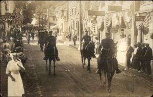 Stonington CT Military Parade Visible Store Signs c1910 Real Photo Postcard