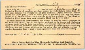 Peoria, Illinois Order Receipt Postcard ELECTREAT MANUFACTURING CO. 1941 Cancel