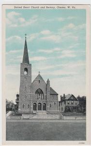 1953 CHESTER West Virginia W VA Postcard Sacred Heart Church Rectory