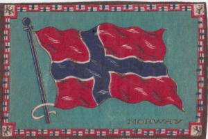 Tobacco Silk Flag , 1900-10s ; NORWAY