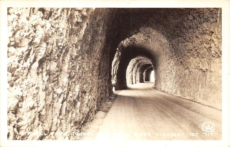 Columbia River Highway Oregon~Mitchell Point Tunnel~1940s RPPC-Postcard
