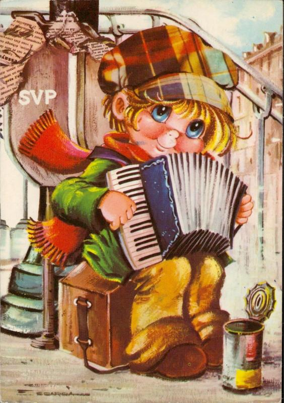 little homeless boy playing accordion illustration