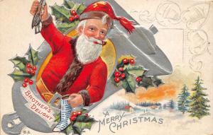 E55/ Santa Claus Merry Christmas Postcard c1910 Nash Bell Silver 5
