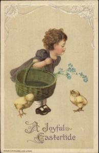 Easter - Little Girl Chicks & Basket c1910 WINSCH Postcard