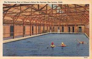 Swimming Pool at Gilman's, San Jacinto, California, Early Postcard, Unused