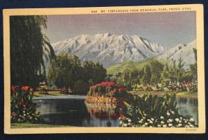 Postcard Used 994-Mt Timpanogos from Memorial Park Provo UT LB