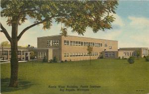 Big Rapids Michigan~Art Deco Ferris Institute~West Building~1940s Postcard
