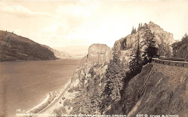 Columbia River Highway Oregon~Inspiration Point~1930s Cross & Dimmit RPPC