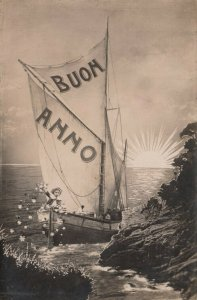 RP: BUON ANNO, 1900-10s; Good Year, Child throwing flowers from Sail Boat