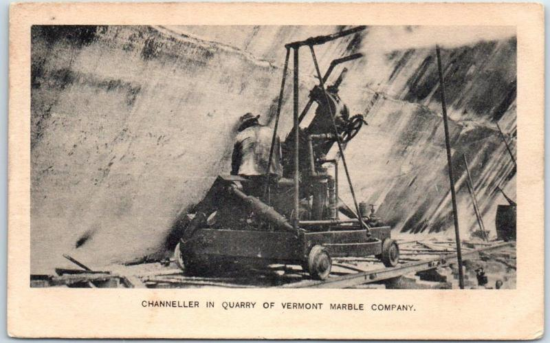 VERMONT Postcard Chaneller in Quarry of VERMONT MARBLE COMPANY 1910 Cancel