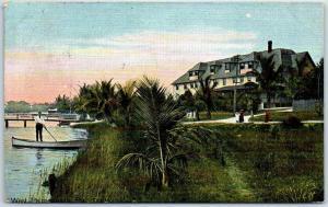 West Palm Beach, Florida Postcard The Holland Hotel / Boat Landing 1908 Cancel