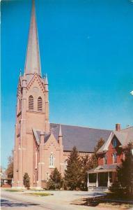 Niles Michigan~Saint Mary's Catholic Church~House Next Door~1950s Postcard