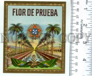 500118 FLOR de PRUEBA Vintage embossed cigar box label