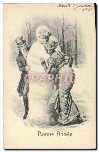 Old Postcard Fantasy Snowman Happy New Year Woman