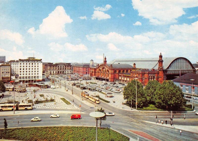 Postcard Bremen Train Station Bahnhofsvorplatz, Hauptbahnhof Germany #44