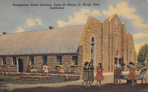 Camp St Marys Ohio~Evangelical United Brethren~Auditorium~VBS Girls~1940s PC