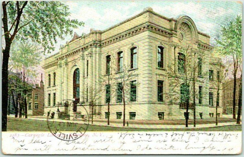 Syracuse, New York Postcard CARNEGIE LIBRARY Building / Street View 1907 Cancel