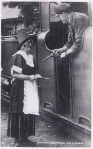 Tan E Blach Station Mistress Welsh Railway Old Real Photo Postcard