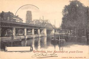 Rotterdam Netherlands Nieuwland Toren Bridge Scene Antique Postcard K17401