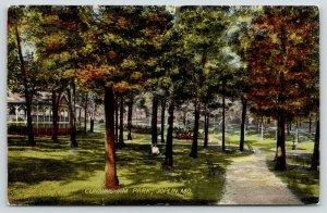 Joplin Missouri~Man Leans on Tree in Cunningham Park~Path by Pavilion~1911 PC